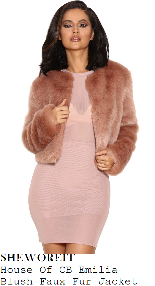 c0eb755d50d9c Jessica Wright's House Of CB Emilia Blush Pink Long Sleeve Cropped Faux Fur  Jacket