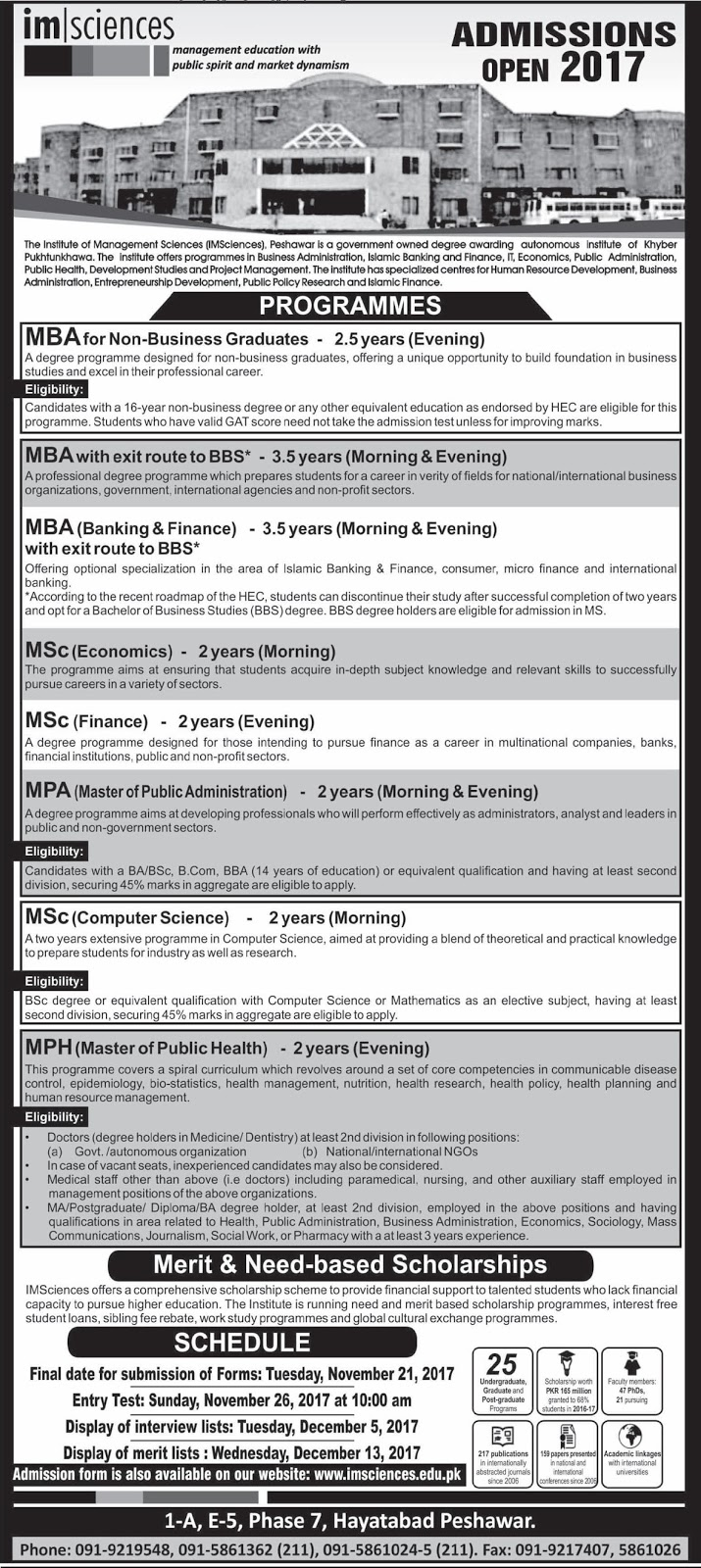 Admissions Open in The Institute of Management Sciences Peshawar