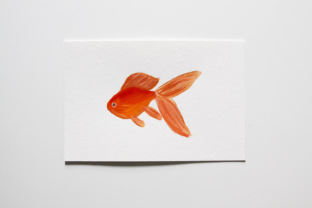 gouache, goldfish, painting, Anne Butera, My Giant Strawberry