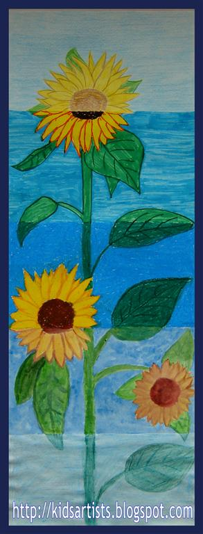 Kids Artists Sunflowers In Five Different Materials
