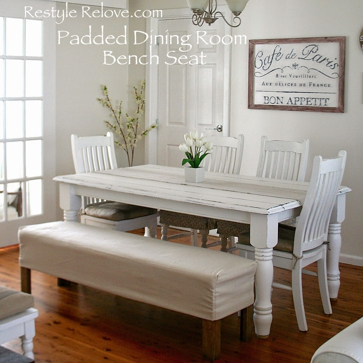 how to make padded dining room bench kitchen table bench seat Padded Dining Room Bench Seat with Removable Washable Drop Cloth Cover