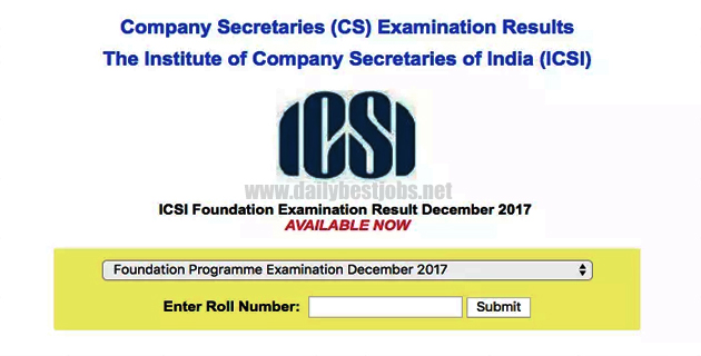 CS Foundation Result Check CS Result on icsi.examresults
