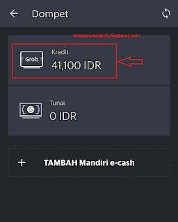 Gambar halaman Dompet dan menu Kredit