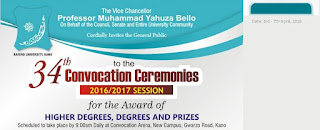 BUK 34th Convocation Ceremonies Schedule - 2017