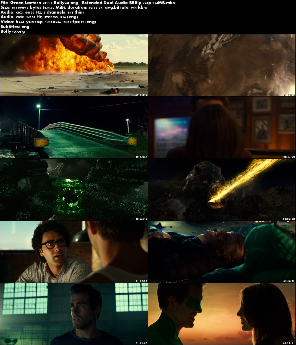 Green Lantern 2011 BRRip 800MB Extended Hindi Dual Audio 720p Download