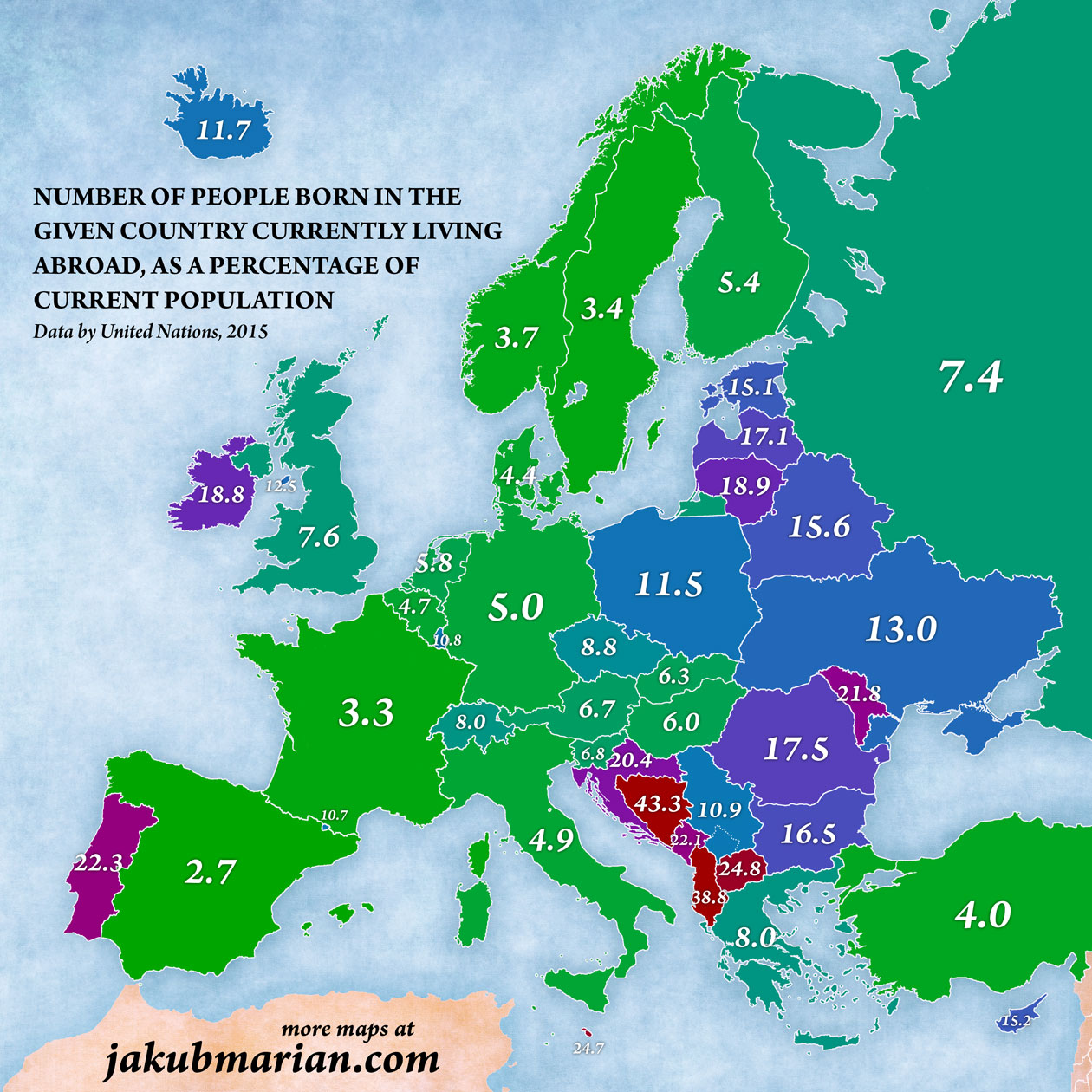 Number of people born in the given country currently living abroad, as a percentage of current population