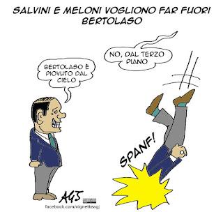 belusconi, salvini, meloni, bertolaso, centrodestra, candidature, Roma, vignetta satira