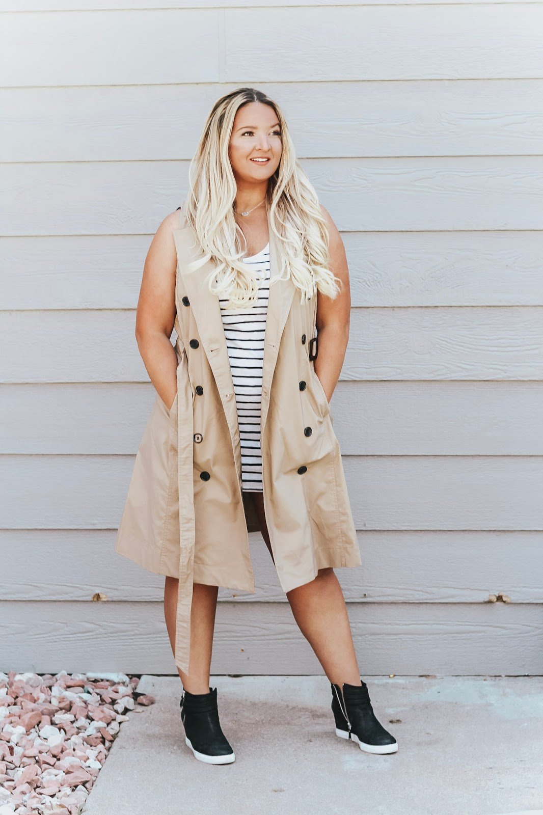 1 Trench Dress styled 3 ways featured by popular Denver fashion blogger, Delayna Denaye