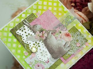 скрапбукинг открытка пасха зеленый и розовый цвет скрап, Леся Згарда штамп