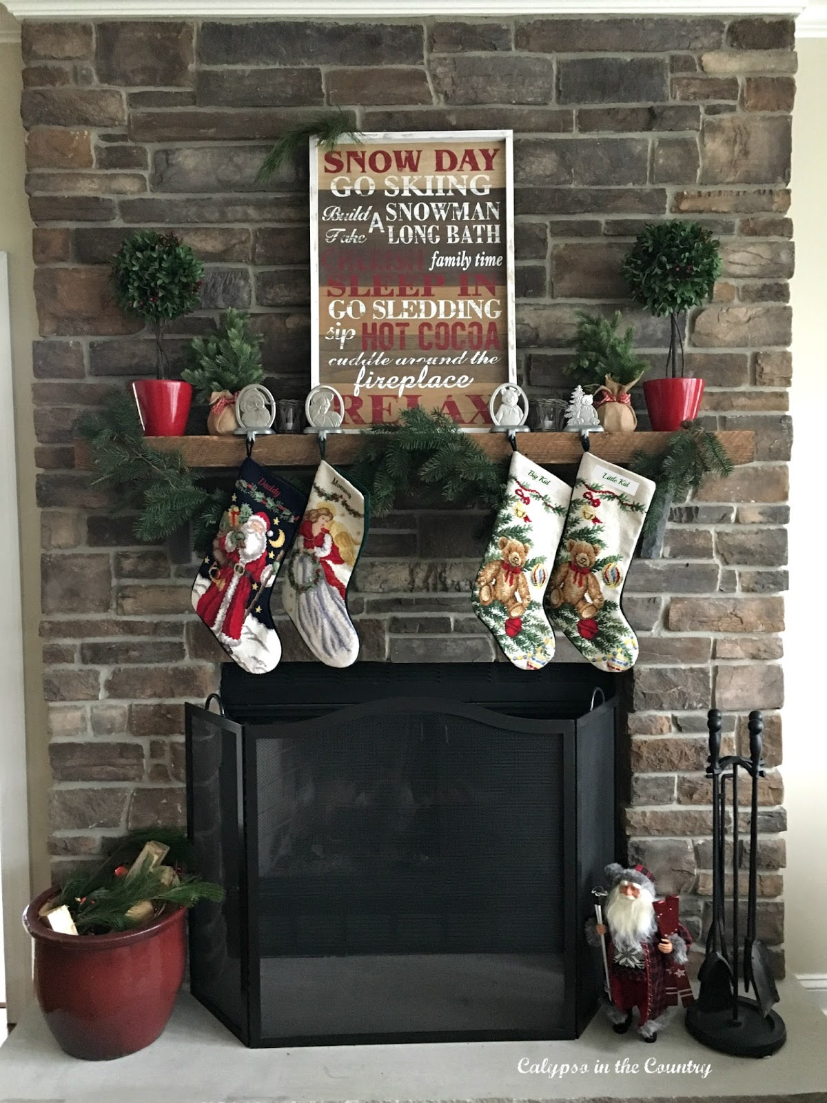 Stone Fireplace with a Rustic Farmhouse Look for Christmas