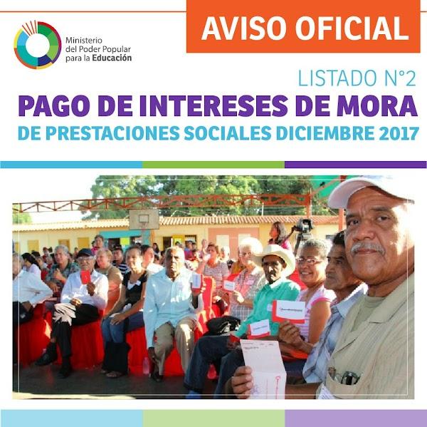 LISTADO N° 2 PAGO DE INTERESES DE MORA