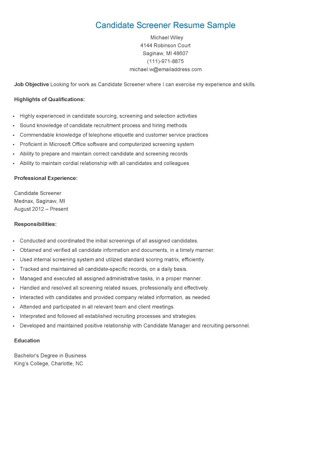 resume sles candidate screener resume sle