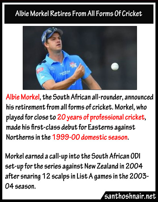 Albie Morkel retires from all forms of Cricket