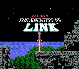 Captura de la pantalla de título del Zelda 2: The Adventure of Link, NES, 1987