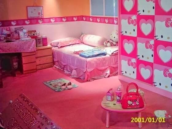 Girls Bedroom Design Minimalist Theme Hello Kitty