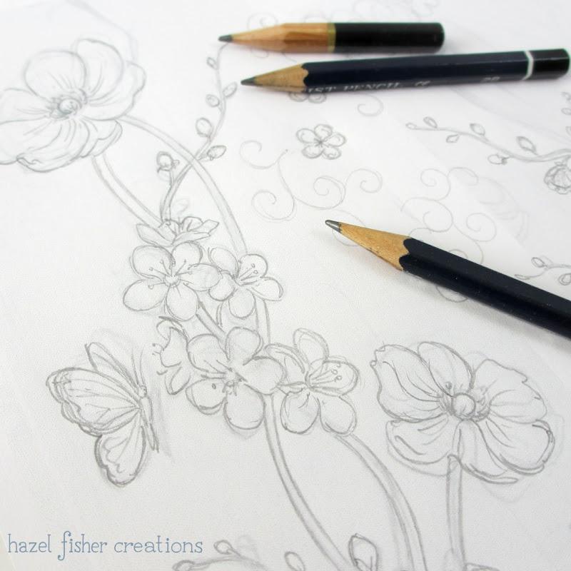Spoonflower Contest Japanese Garden sketchbook - hazelfishercreations