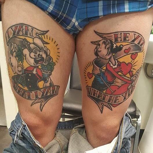 popeye and olive oyl tattoo