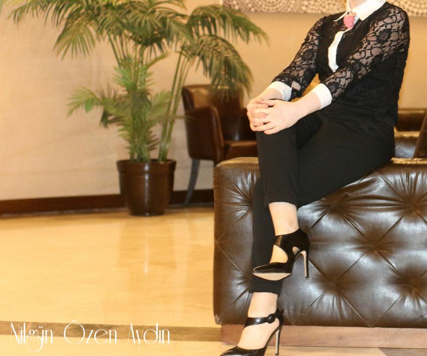 Dantel Gömlek ve Siyah Stiletto-moda blogu
