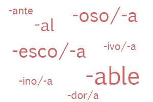Ejemplos de sufijos para crear adjetivos por derivación