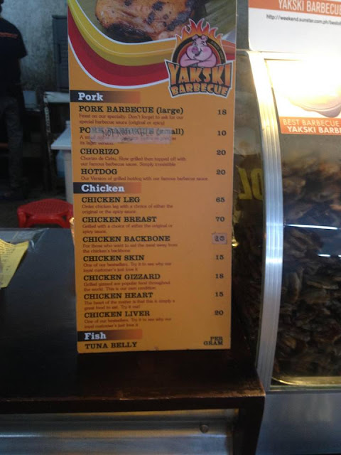 The menu at Yakski Barbecue