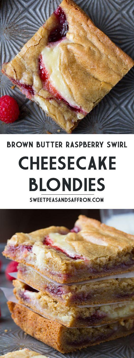 Brown Butter Raspberry Swirl Cheesecake Blondies