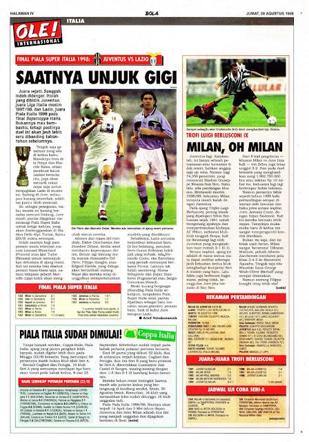 PIALA SUPER ITALIA 1998 JUVENTUS VS LAZIO