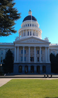 California State Capitol Building, tall building front collonade looking up to a high domed roof. Building set in parkland, looking across lawns and tall tree to left of image.
