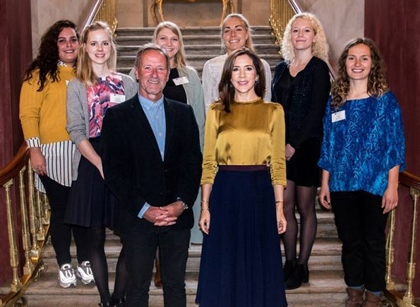 The Crown Princess Mary Scholarships 2017. Crown Princess Mary wore Prada satin blouse, and Baum und Pferdgarten skirt