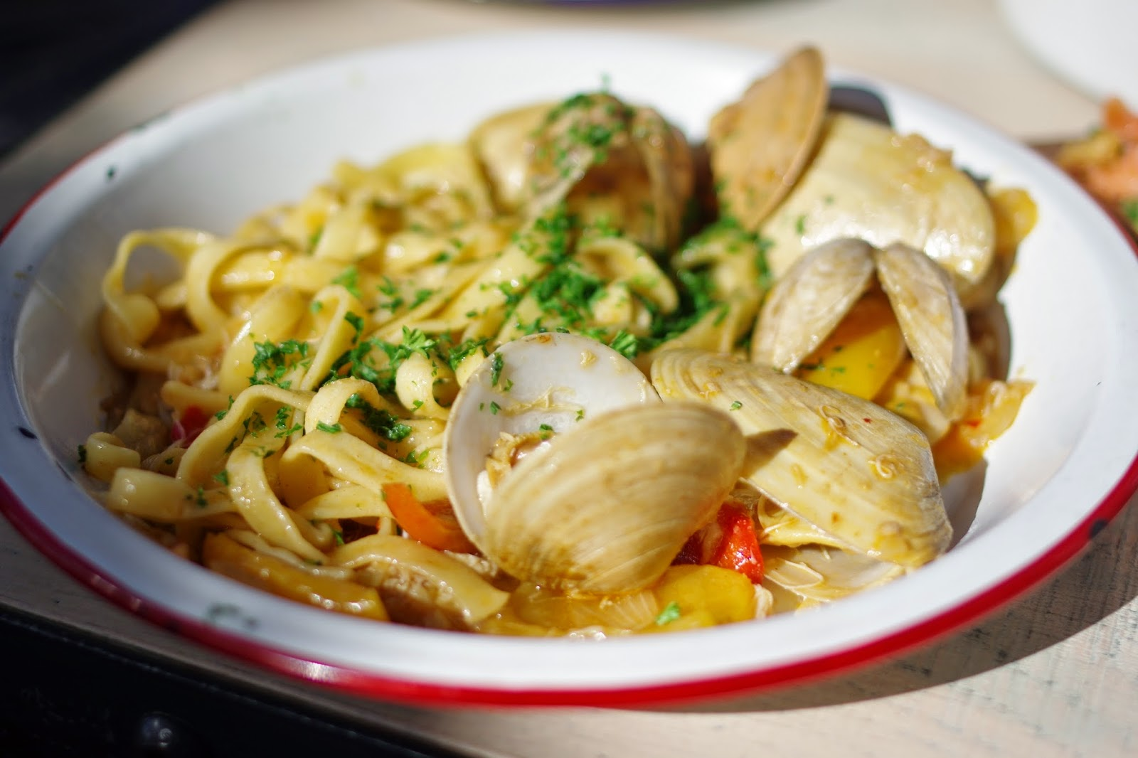 Crab and clam fettuccine. Yum.