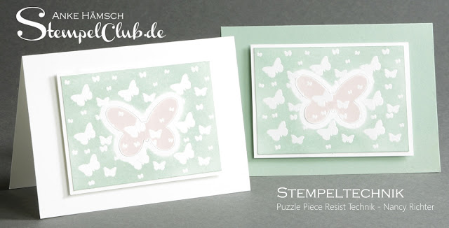 Stempeltechnikbuch, stampin up, puzzle piece resist technik