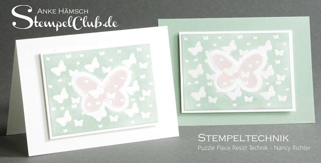 Stempeltechnikbuch, stampin up, puzzle piece resist technik
