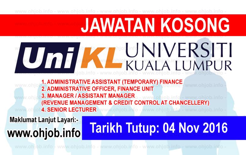 Jawatan Kerja Kosong Universiti Kuala Lumpur (UniKL) logo www.ohjob.info november 2016