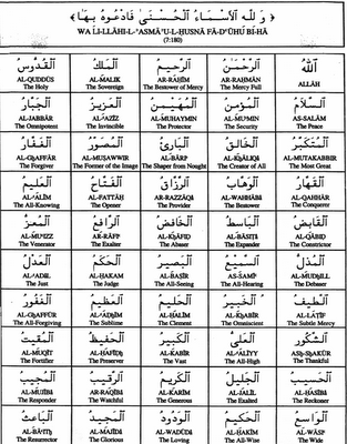 Islamic World: 99 Names Of ALLAH