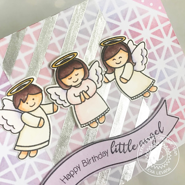 Sunny Studio Stamps: Little Angels Pink and Silver Happy Birthday Card by Lexa Levana