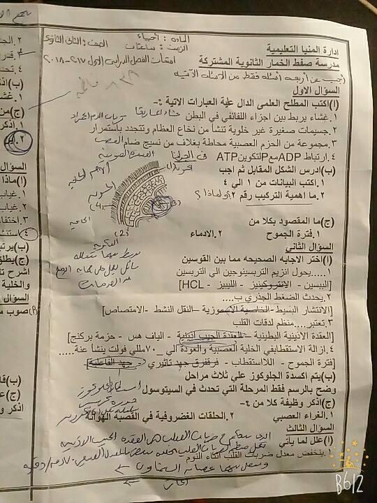 ورقة امتحان الأحياء للصف الثاني الثانوي الترم الاول 2018 ادارة المينا