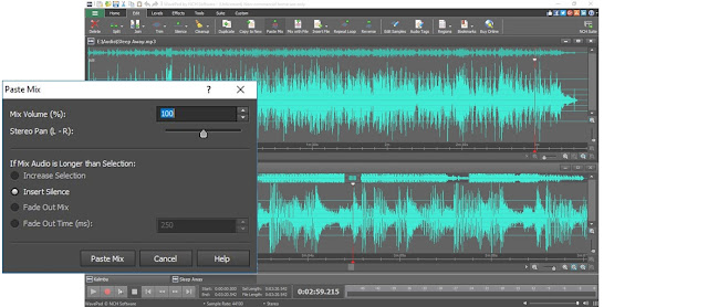 screenshot demonstrating how to mix audio tracks in WavePad