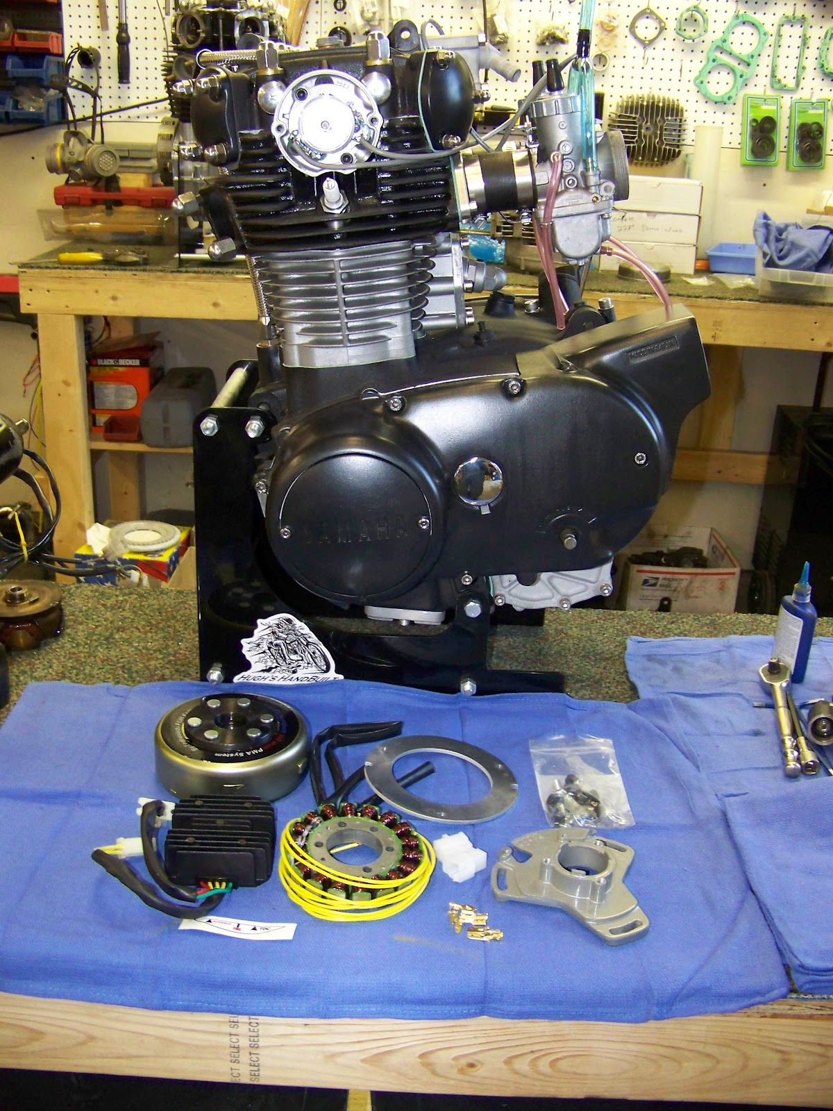 The beauty of the PMA system is that you can even get an XS650 engine  running without installing it in a bike, and charging too!