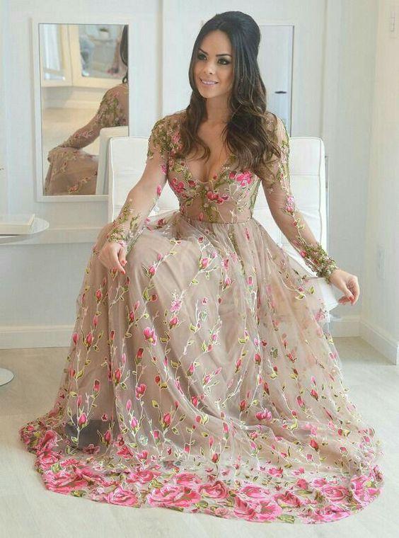 vestidos longos de renda