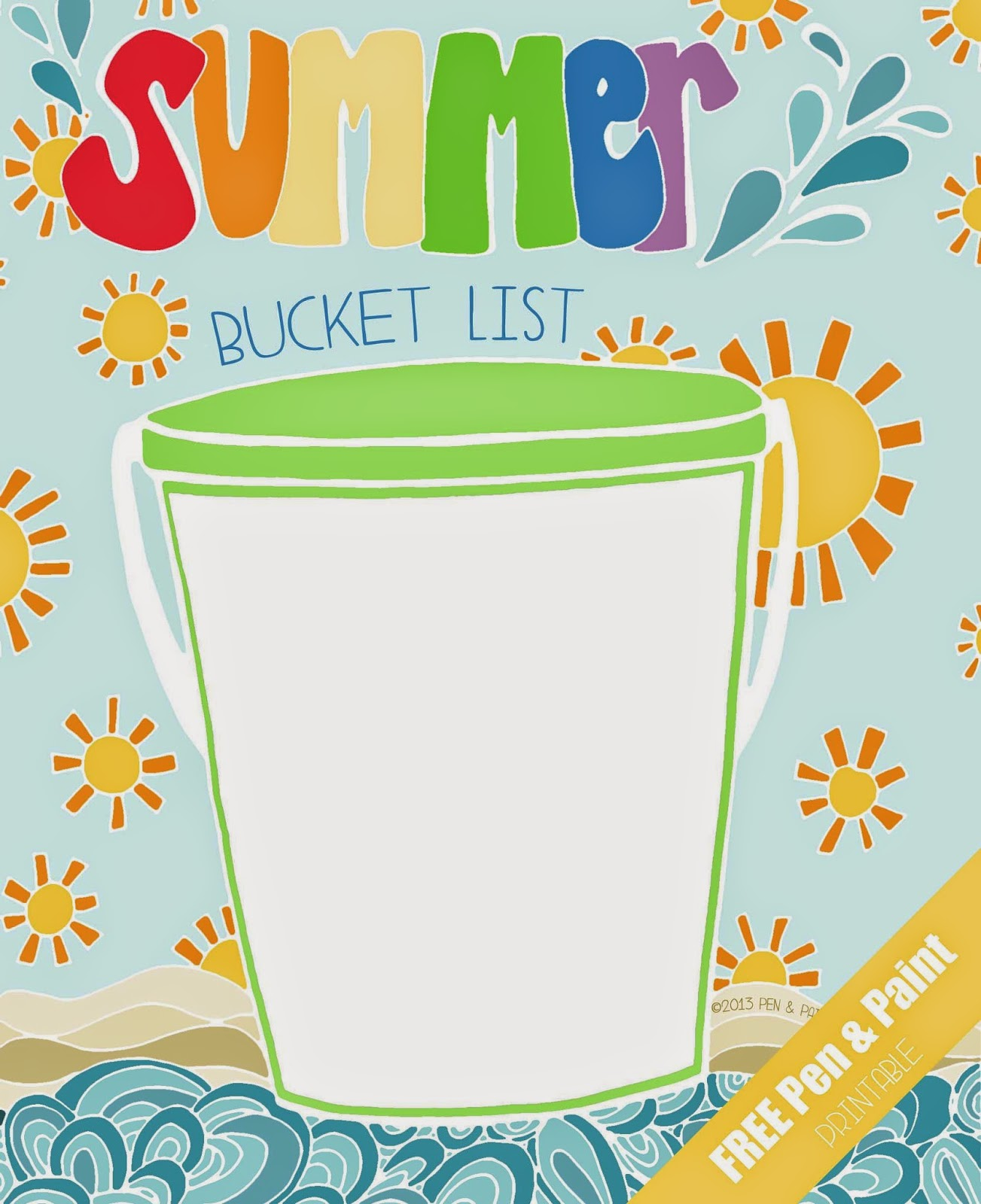 photo relating to Summer Bucket List Printable referred to as pen paint: Absolutely free Printable Coloring Web page - Summertime Bucket Checklist