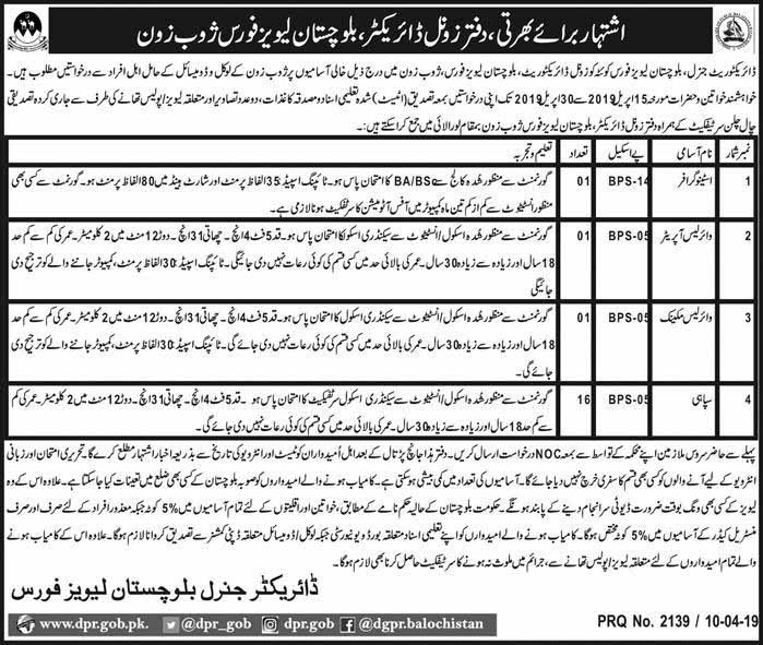 Jobs In Balochistan Levies Force Today 12 Apr 2019