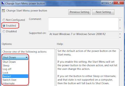 change Shutdown Power button in Windows 7