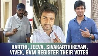 Karthi, Jeeva, SivaKarthikeyan, Vivek, GVM register their votes #TNElections2016