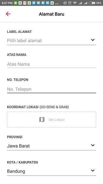 alamat pengiriman belanja di Bukalapak
