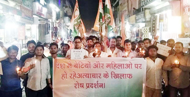 Youth Congress raised candle march over UP and Jammu Kashmir rape case