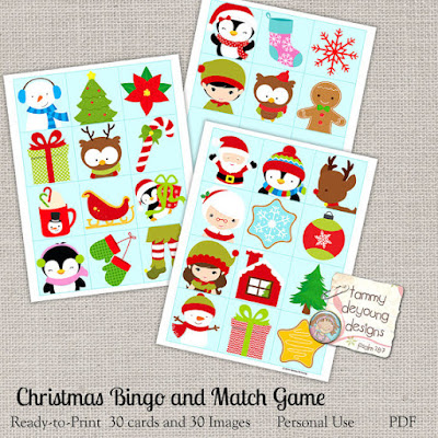 Christmas Bingo Matching Game