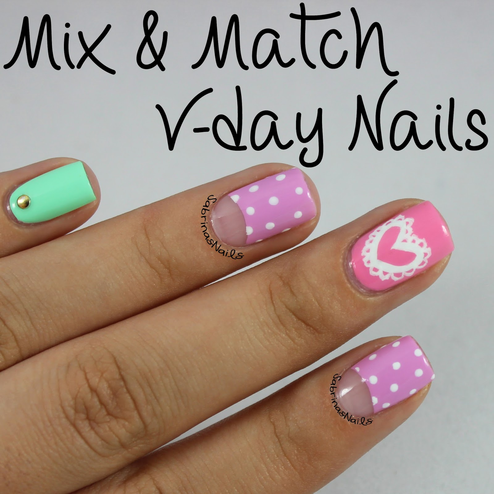 sabrinas nails mix match valentines day nails. Black Bedroom Furniture Sets. Home Design Ideas
