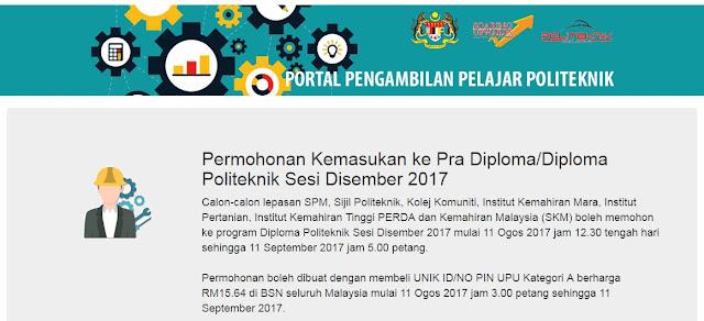 The Edvisor Malaysia Permohonan Kemasukan Ke Pra Diploma Diploma Politeknik Sesi Disember 2017 Lepasan Spm Setaraf