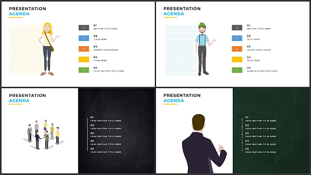 Table of Contents for Free PowerPoint Template using Peoples and illustrations