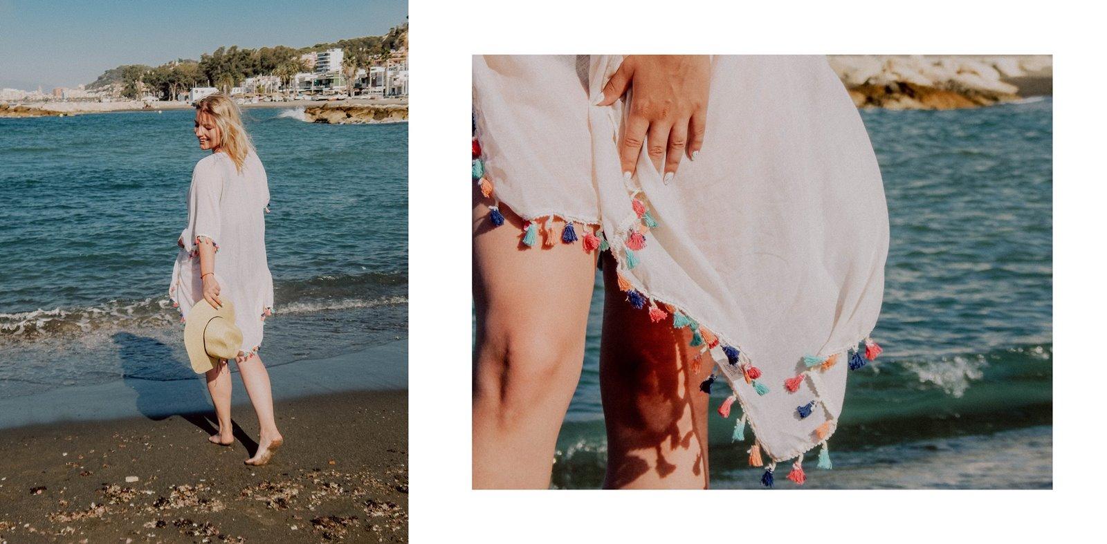 7A szaleo wakacje w maladze malaga jak spędzić wakacje co zobaczyć stylizacja na plaże pareo składany kapelusz słomkowy modne dodatki na wakacje na plażę z frędzlami z pomponami hiszpania polski kraj język ceny outfit