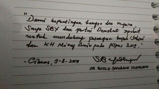 Fakta Dibalik Beredarnya Tulisan Tangan SBY Dukung Jokowi